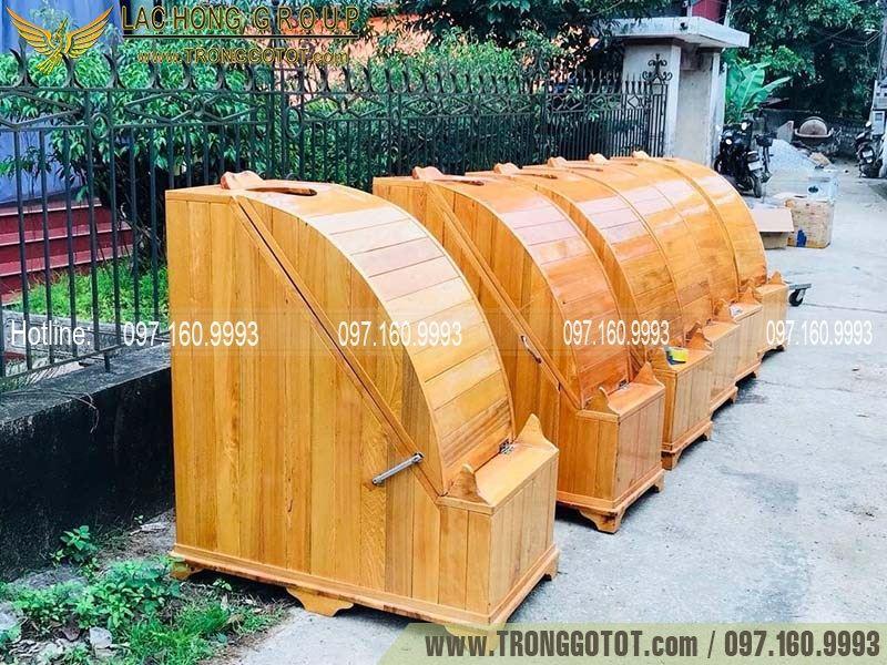 thùng xông hơi bằng gỗ thông