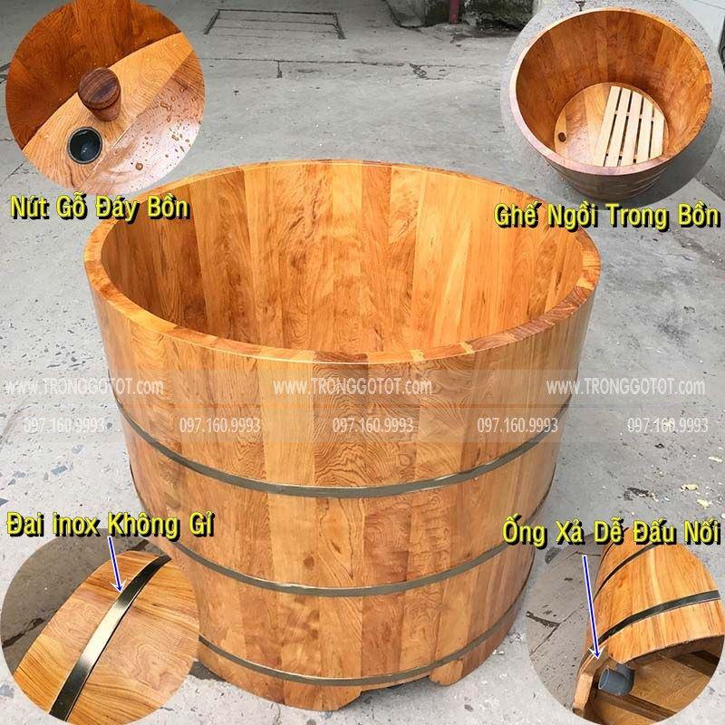 bồn tắm gỗ tròn dáng đứng