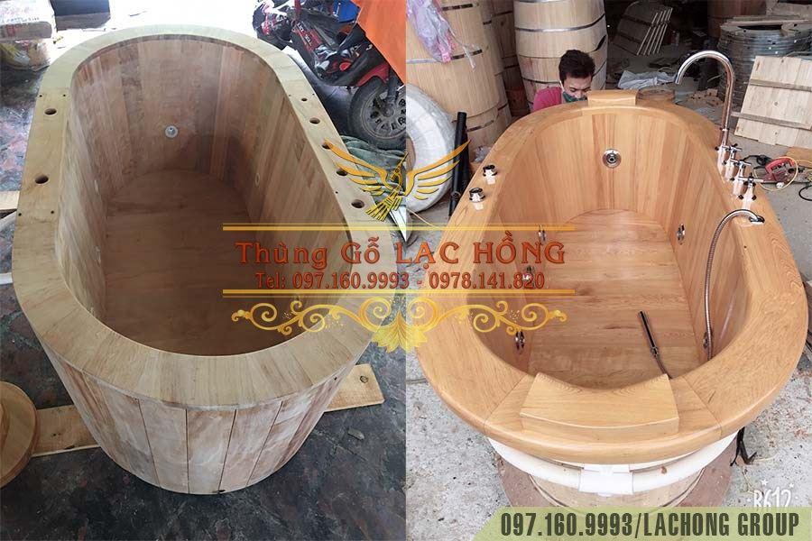 bồn gỗ xông hơi sục khí massage