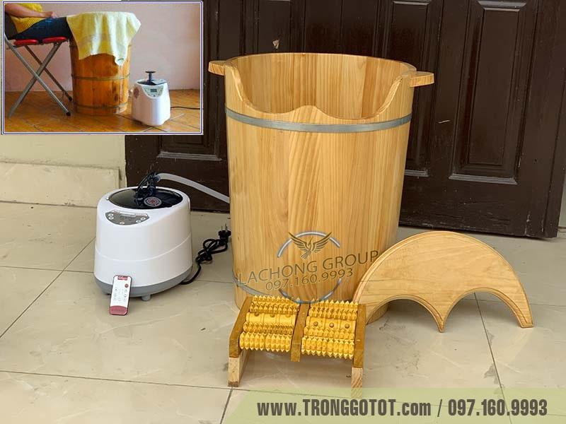 thùng gỗ xông chân spa