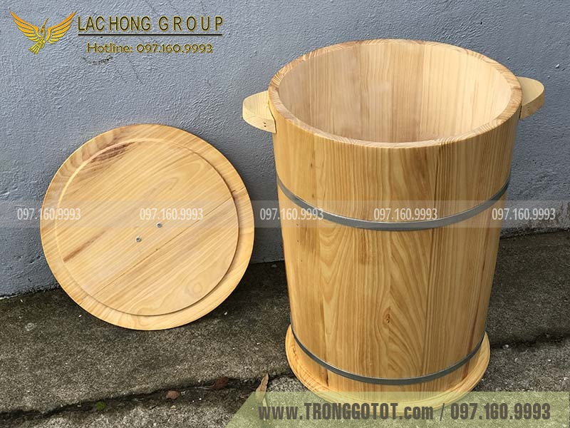chậu gỗ đựng gạo