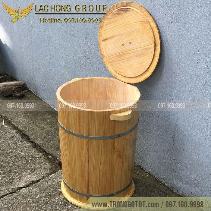 thùng gỗ đựng gạo hand made