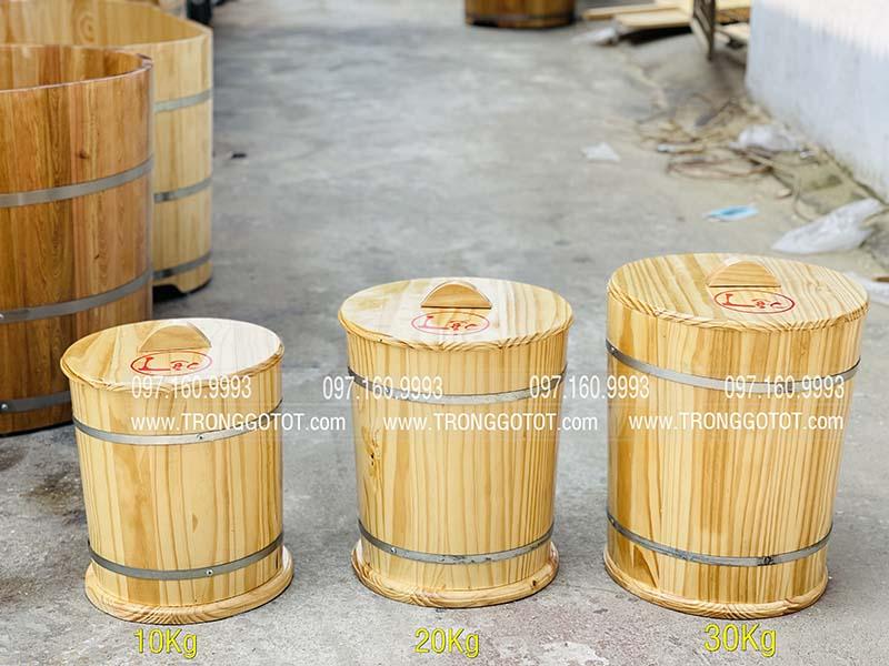 thùng gỗ đựng gạo đẹp