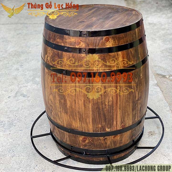kệ rượu hình thùng gỗ