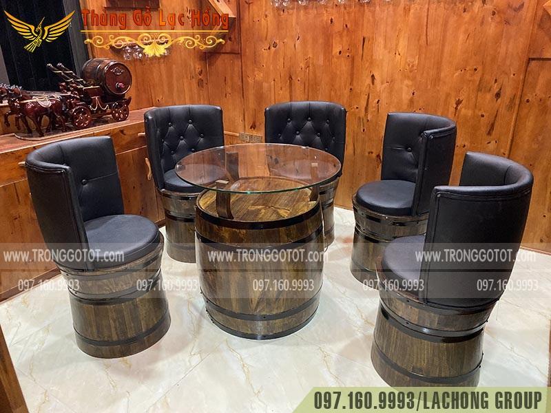 thùng rượu tái chế bàn ghế