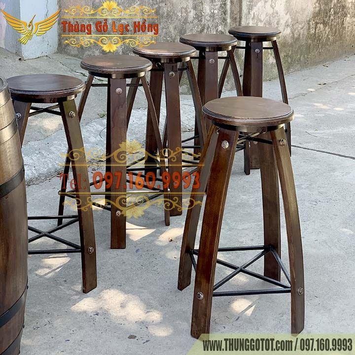 ghế bar thùng gỗ
