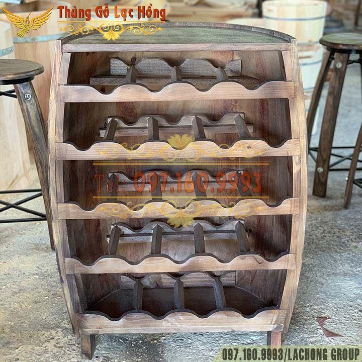 kệ để chai rượu thùng gỗ