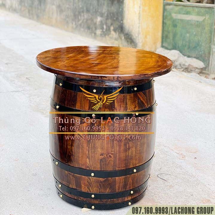 bàn cafe thùng rượu gỗ