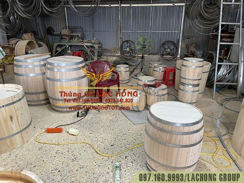 đóng thùng rượu gỗ deco
